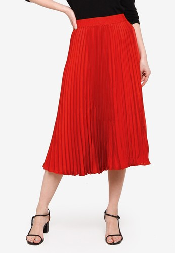 Banana Republic red Pleated Midi Skirt 53B5FAA25298FAGS_1