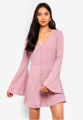 737c2acbbf MISSGUIDED pink Flare Sleeve Horn Button Down Skater Dress  8AD3CAA07CF574GS 1