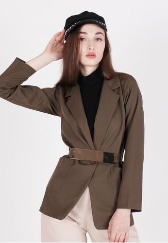 MAGNOLIA green Blazer With Gold Plates Belt EB018AA99579E0GS_1
