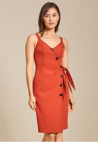 Dressing Paula orange Button-Embellished Wrap-Effect Cady Dress 58122AAE781C02GS_1