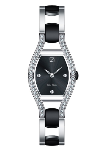 ZECA black and silver Zeca Watches Ladies Fashion Stainless Steel Analog - 142L Black 0981FACC8211B8GS_1