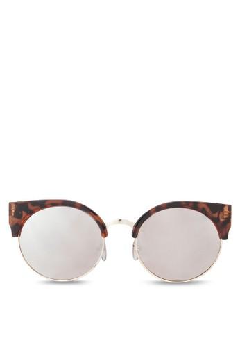 豹紋半zalora 台灣門市圓框太陽眼鏡, 飾品配件, 飾品配件