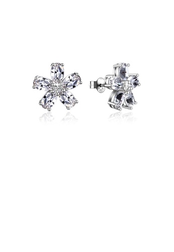 Glamorousky white 925 Sterling Silver Simple Flower Stud Earrings with Austrian Element Crystal EED3AACF513682GS_1