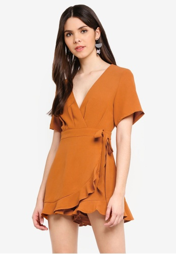 MISSGUIDED brown Wrap Over Playsuit DA3D9AA398402CGS_1