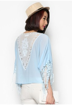 Feminine Blouse with Lace Panels