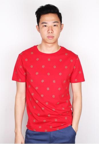 Moley red SGLOCAL 'FA CAI' Print T-Shirt MO329AA31ZNWSG_1