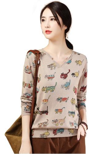A-IN GIRLS beige Cute Printed V-Neck Sweater 435A7AA471AB40GS_1