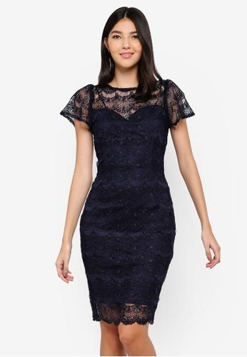 Paper Dolls navy Frill Sleeve Dress 4352EAAAF155B7GS_1