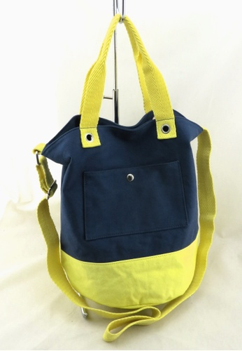 Esther Accessories yellow Canvas Bucket Bag with shoudler strap --- Navy/Yellow ES153AC12BPJHK_1