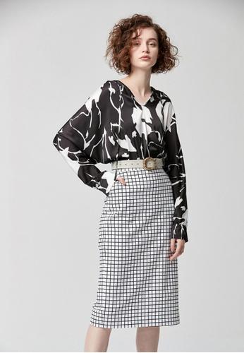 iROO white Checkers Pencil Skirt 1E6E1AAD719557GS_1