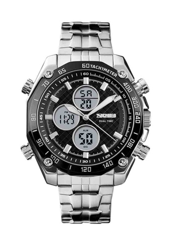 Fashion by Latest Gadget silver Skmei 1302 Dual Time Water Proof – Silver 763B4AC4204E55GS_1