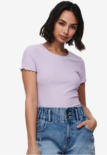 ONLY purple Emma Rib Top CD077AAC47DDC0GS_1