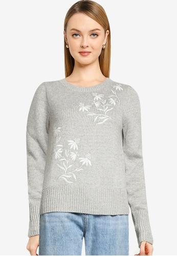 Springfield grey White Floral Embroidery Jumper 550E9AA0CC58C5GS_1