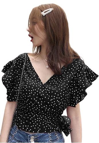 Sunnydaysweety black V-Neck Pokka Dots Patterned with Ruffled Chiffon Top A21032020BK 27B55AA77E896EGS_1