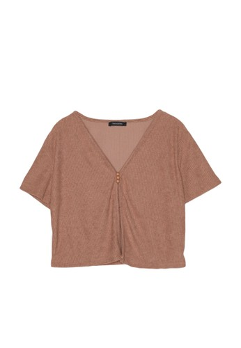 Trendyol pink Slit Front Button Detail Ribbed Crop Top 76EB1AA3E50D3CGS_1