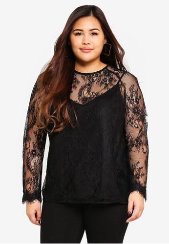 ELVI black Plus Size Cressida Gossamer Lace Top 9CF21AAB6D36BDGS_1