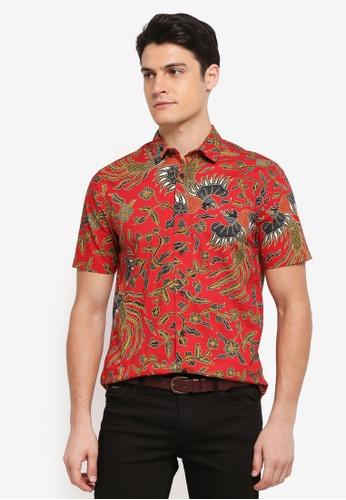 Topman red Red Batik Bird Shirt 14C94AA8C77B24GS_1