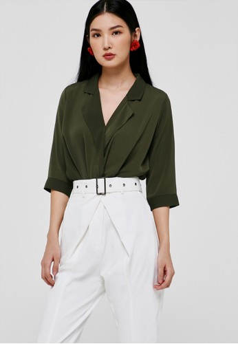 Love, Bonito green Beldie Draped Blouse 64783AAACEBD09GS_1