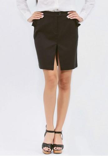 黑色環保纖維荷葉口袋工作裙, 服飾esprit童裝門市, 鉛筆裙