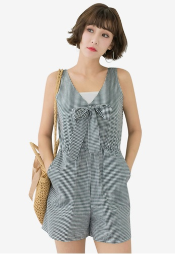 Tokichoi black Gingham Tie Front Romper F5A5FAA45DAB38GS_1