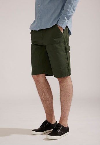 Life8 green Casual Cotton Washed Embroidery LOGO Shorts-02392-Army Green LI283AA0FG1ESG_1