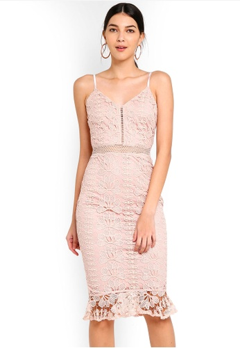 MISSGUIDED pink Ladder Lace Midi Dress E99ABAA47CCBE9GS_1
