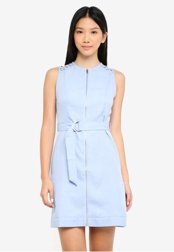 ZALORA blue Lace Panel Utility Dress A5194AA2786965GS_1