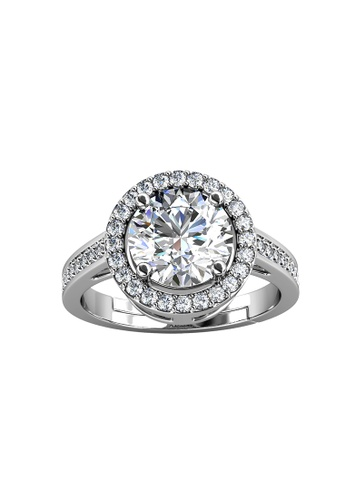 Her Jewellery silver CELÈSTA Moissanite Diamond - Fantaisie Ring (925 Silver with 18K White Gold Plating) by Her Jewellery D3719ACB89F5CBGS_1