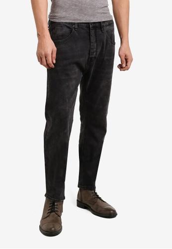CR7 black Type T Tapered Black Paint Splatter Jeans CR532AA81EFMMY_1
