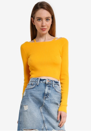 River Island orange Lydia Strap Detail Crop 60CFBAA8EF0E7FGS_1