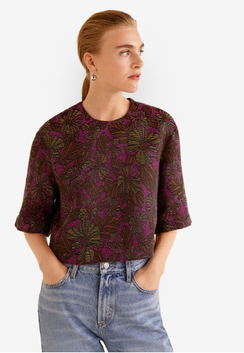 Mango red Jacquard Top 22186AA57F1302GS_1
