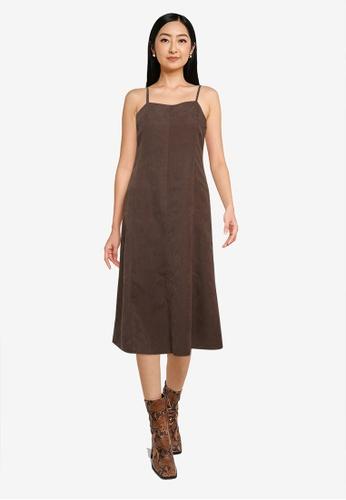 Heather brown Sleeveless Midi Dress AF5EFAA3243F66GS_1