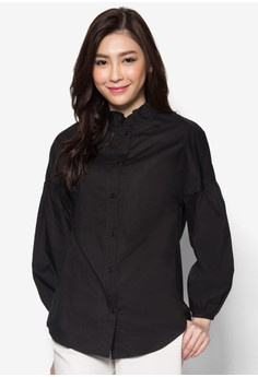 Dropped Shoulder Frill Blouse