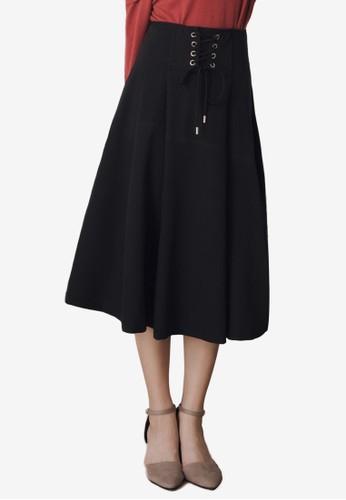 Kodz black Tie Front A-Line Midi Skirt E8BBDAA6272EF3GS_1