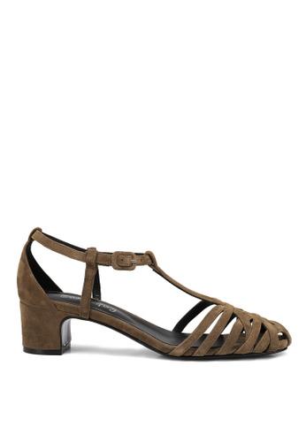 RABEANCO brown RABEANCO ESTELLA STRAPPY Mid-Heel Sandals - Grey Khaki 4EC2ESH9E36409GS_1