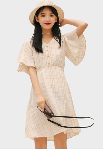 Shopsfashion yellow Checked Fit and Flare Dress in Yellow C9F2FAA36B1A94GS_1