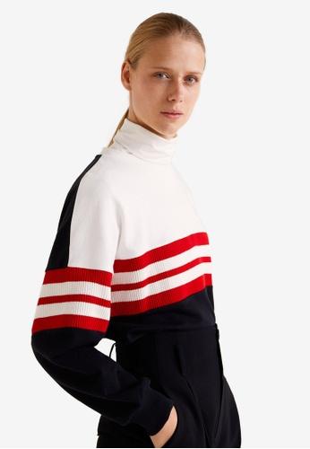 Mango white Striped Cotton-Blend Sweatshirt C81C4AA98778E5GS_1
