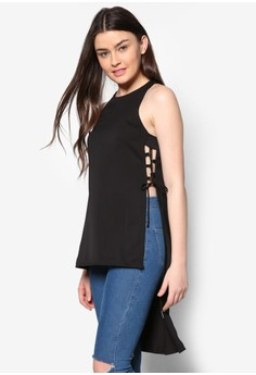 Side Lace-Up Detail Tunic Top