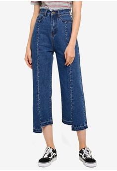 0083a1b42b Something Borrowed blue Frayed Detail Straight Cut Jeans 65768AA1BBB6FDGS_1