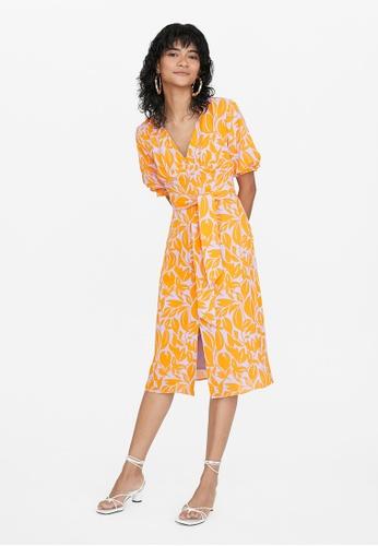Pomelo orange Tropical Print Two Tone Dress - Orange 070C1AA93E6420GS_1