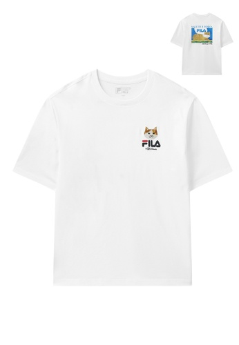 FILA white FILA x Pepe Shimada Unisex Ginger Cat Embroidery Cotton T-shirt E3E92AA5E37E9EGS_1