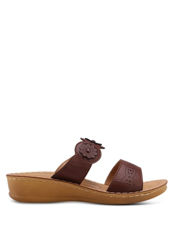 Noveni brown Slide On Wedges A55D7SHAAF86EAGS_1