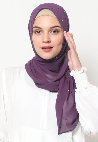 KASHKHA purple Pashmina Scarf Poly with Stone by Kashkha/Purple 65879AA8B34171GS_1
