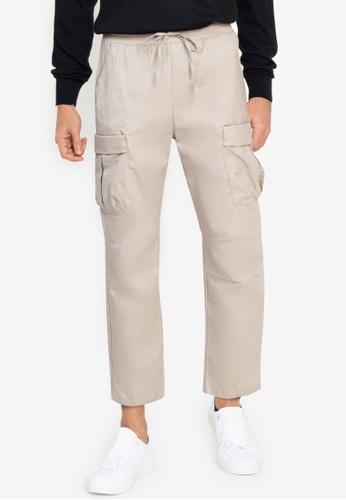 ZALORA BASICS brown Cargo Pants 44EC9AA613E9E6GS_1