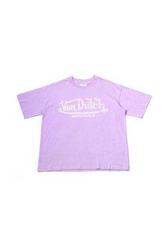 Von Dutch purple Von Dutch Classic Logo Purple Loose Cut Tee Shirt 64BEEAAA20005CGS_1