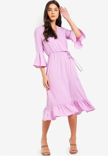 ZALORA purple Fluted Sleeves V-Neck Dress E06AFAA5878493GS_1