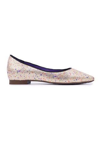 Flatss & Heelss by Rad Russel multi and gold Shiny Pointy Flats - Gold 14033SH7181685GS_1