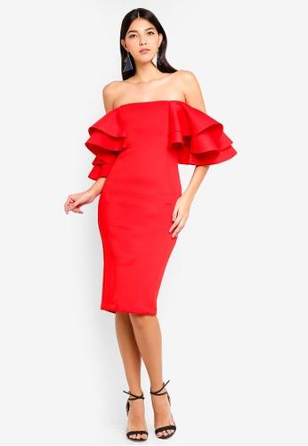 Lavish Alice red Double Frill Sleeve Bardot Scuba Midi Dress 66AE0AA5F5228FGS_1