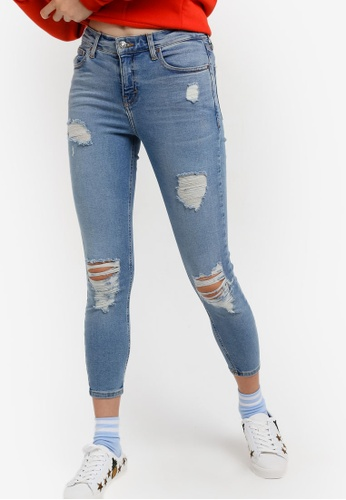 "TOPSHOP blue Petite 28"" Super Rip Jamie Jeans TO412AA34AUZMY_1"