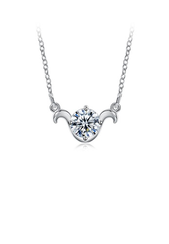 Glamorousky white Simple and Fashion Twelve Constellation Aries Pendant with Cubic Zircon and Necklace 204E7ACB38CF70GS_1